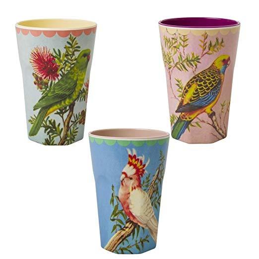 Latte-Becher 3er Set Vogelmotive - Sparangebot