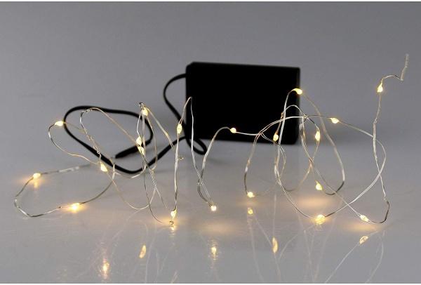 LED Silberdraht 20 Lichter ,Warmweiß, mit Timer 6/18 Std. Zeitschaltung, Anschluß für Trafo