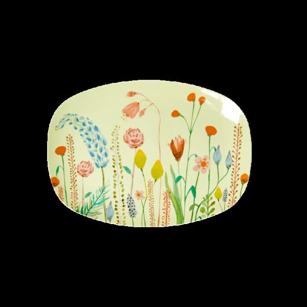 Teller/ Platte, Servierplatte klein 16x22 cm, Muster Summer Flowers