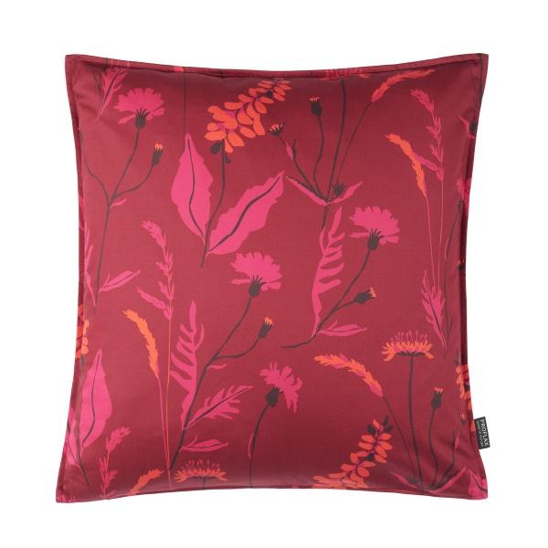 Kissenhülle Leticia,Druck Blumenwiese, Größe 50x50 cm, Farbe vino