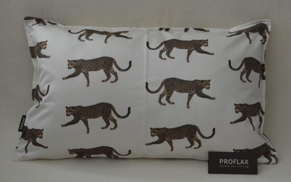 Kissenhülle Tambo, Größe 30x50, Druck Leoparden, 100% Baumwolle in Farbe natur