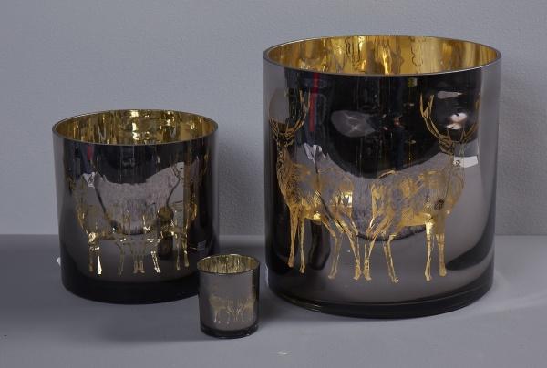 Windlicht Motiv Hirsch,außen taupe /innen gold