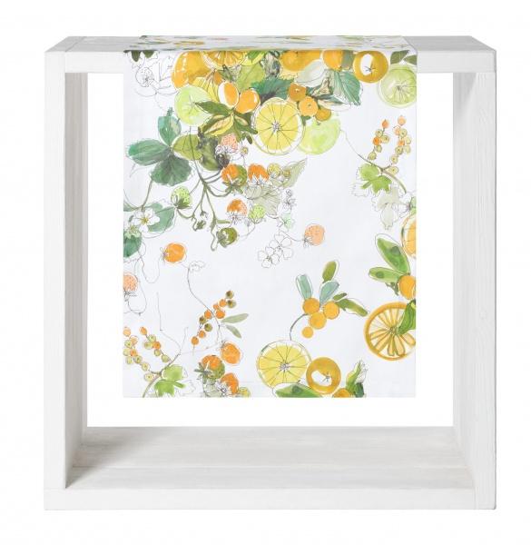 Tischläufer Sicilia, Farbe limone, Muster Zitrone, Größe 50x170 cm, 100% Baumwolle
