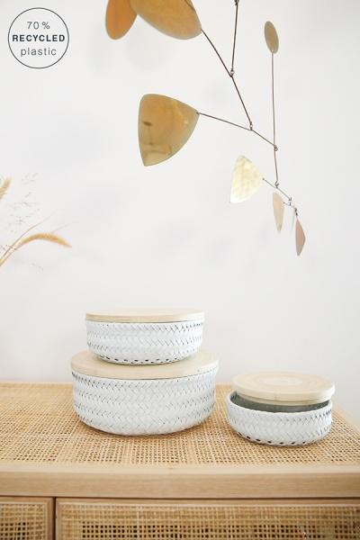 Wonder Basket, Flechtkorb mit Bambusdeckel, Farbe white, Verschiedene Größen