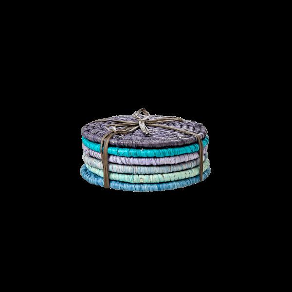 Bastuntersetzer Set 6teilig, Größe ca.10cm, Blau-/ Grüntöne