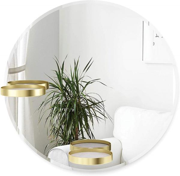 Perch Wandspiegel, Runder, Rahmenloser Spiegel mit Ablage, 61 cm Durchmesser, Messing