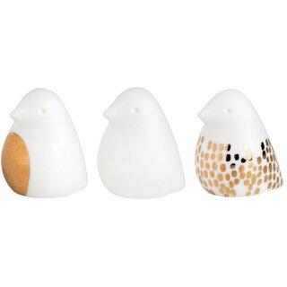 Ostern kleiner Piepmatz 3er Set, Porzellanvögel weiß mit goldenem Druck, Größe 2x3x3 cm