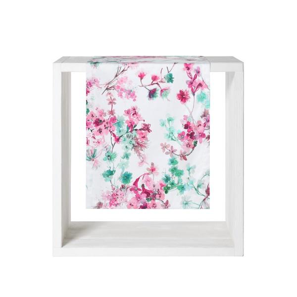 Tischläufer Fabienne, Größe 50x140m, Blütendruck auf 100% Baumwolle