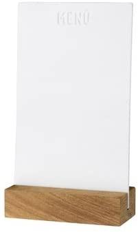 Menütafel mit Holzfuß,Material Porzellan/ Akazie, Größe 11x5x19 cm