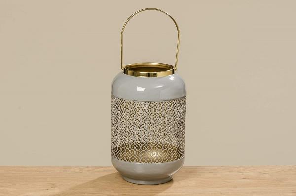 Windlicht / Laterne Astair grau, Material Eisen grau emalliert - innen gold, Größe 27 cm, Durchmesse