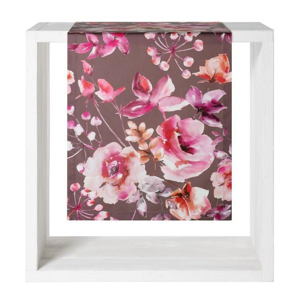 Tischläufer Evelina, Größe 50x140 cm, Farbe purple, 100% Baumwolle, stimmungsvolles Blütenmuster