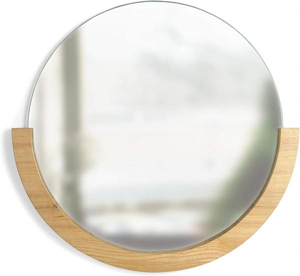 """Mira Mirror 30"""", Spiegel mit halben Holzrahmen, Größe 81,9 x 78,9 x 3 cm"""