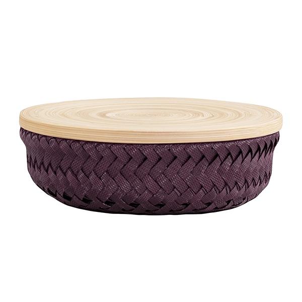 Wonder Basket, Flechtkorb mit Bambusdeckel, Farbe plum, Verschiedene Größen