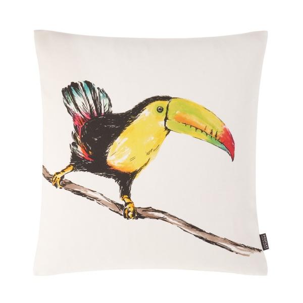 Kissenhülle Jimmy, Print gemalter Tukan auf 100% Baumwolle, Größe 50x50 cm