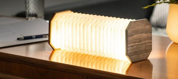Akkordeon Lampe - Walnuß