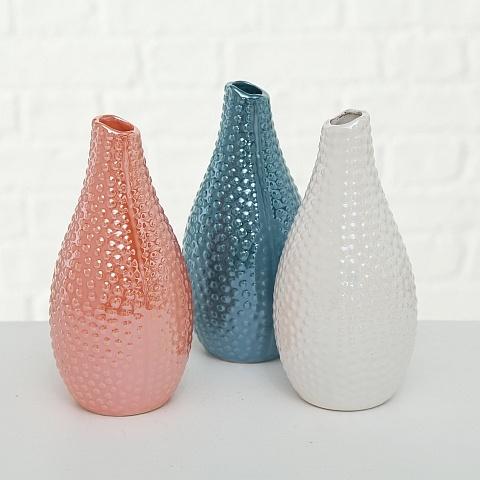Vase Tessa, Steingut, Höhe 18x9 cm, farblich 3fach sortiert