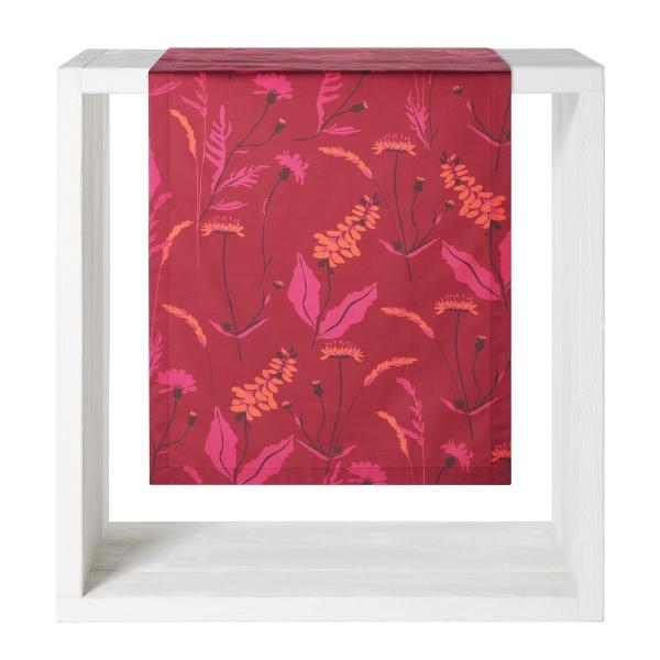 Tischläufer Leticia, Druck Blumenwiese, Größe 50x160 cm, Farbe vino