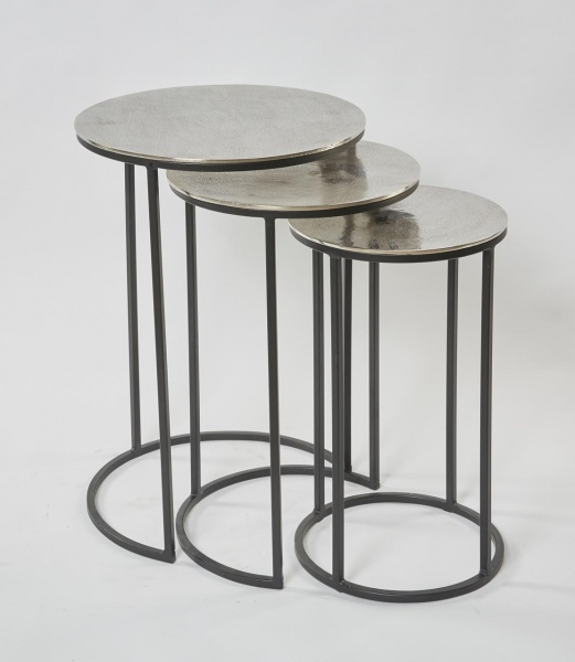 Beistelltisch 3er Set Raw Nickel, 43x43x60cm, 36x36x55cm, 30x30x50cm, Gestell schwarz, Oberfläche Al