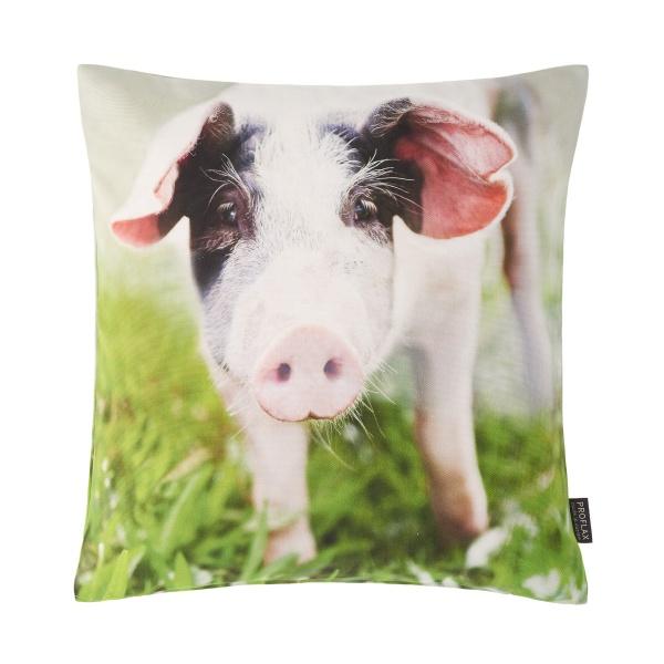 Kissenhülle Piggy, Glückschweinchen, Fotodigitaldruck auf 100% Baumwolle, Größe 40x40 cm