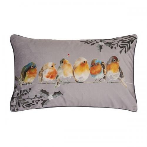 Kissenhülle Birdie, Druck und Stickerei auf Samt, Farbe light grey, Größe 30x50 cm