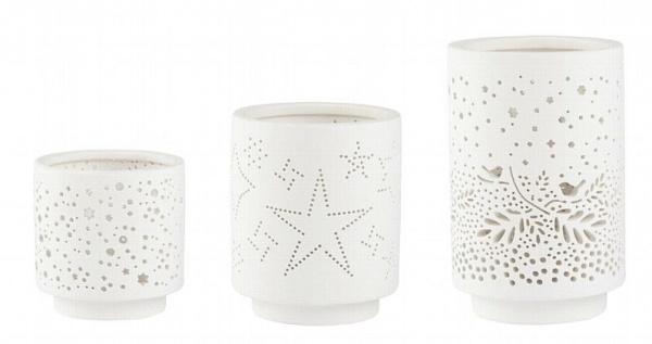 Licht, Porzellan mit Muster, 3er Set
