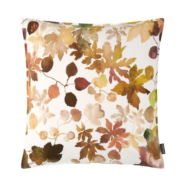 Kissenhülle Otono, herbstlicher Blätterdruck im Farbspiel natur/ grün/braun, verschiedene Größen