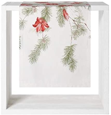 Tischläufer Amara, Druck Amaryllis und Zweige auf 100% Baumwolle, Größe 50x150 cm
