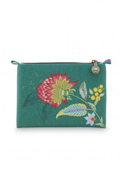 PIP Flache Kosmetiktasche , klein Größe 20x14 cm, Muster Jambo Flower/ Linien