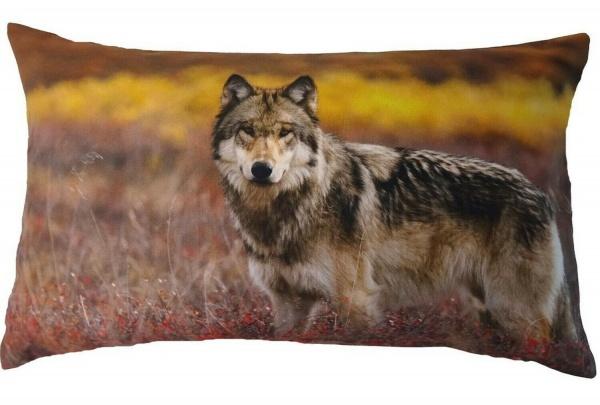 Kissenhülle Zeno 1, Digitalfotodruck Wolf, 100% Baumwolle, Farbe rot/ natur, Größe 30x50cm
