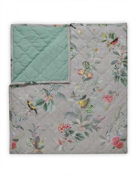 Tagesdecke gesteppt, Muster Floris khaki, Größe 180x260 cm, 100% Baumwolle