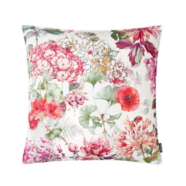 Francesca, Kissenhülle, Alloverdruck mit Blumen auf 100% CO, Farbspiel: rot/ pink/ grün/ natur