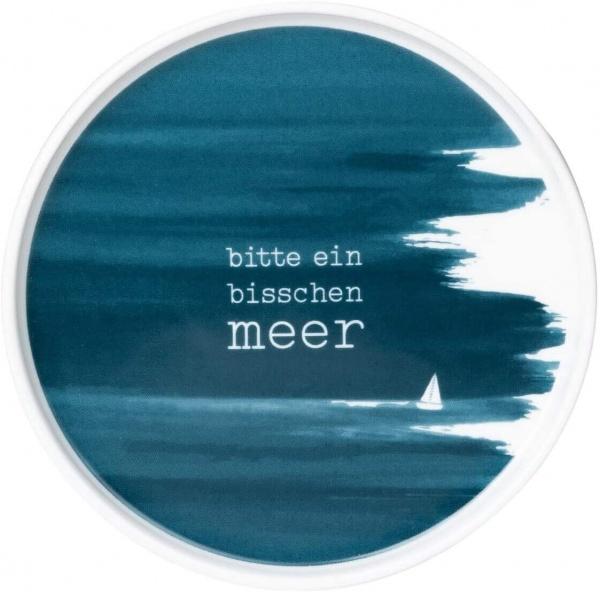 Porzellanteller blau mit Druck: bisschen meer, Serie MEER ALS Worte, Porzellan, 14x1 cm