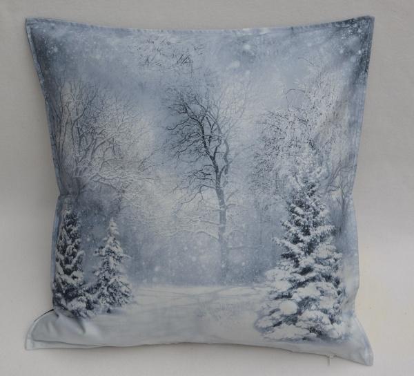 Kissenhülle Winter, Fotodruck Bäume mit Schnee, Größe 50x50 cm