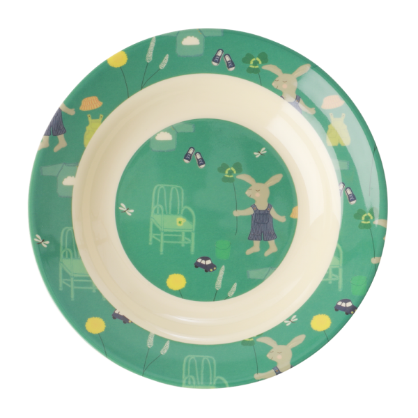 Kindergeschirr aus Melamin, Muster Bunny green, verschiedene Artikel ( Teller tief / Becher )