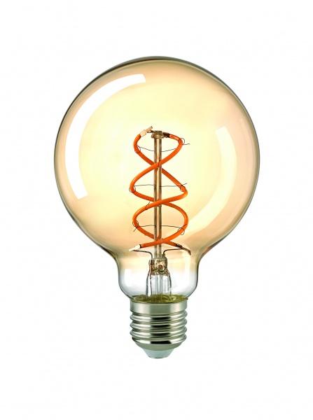 Glühfadenleuchtmittel curved, E27 Globe, 5.5 W, 95mm, dimmbar, Farbe gold