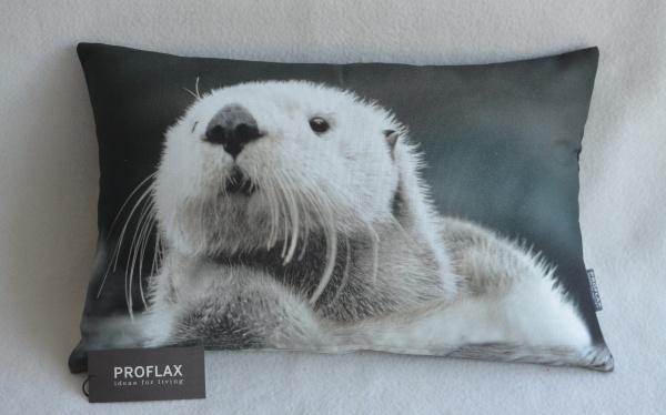 Kissenhülle Ottmar, Digitalfotodruck Otter, Farbe natur, 100% Baumwolle, Größe 27x43 cm