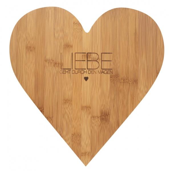 Holzschneidbrett Herz Bambus, verschiedene Größen, mit / ohne Schriftzug - ein ideales Geschenk