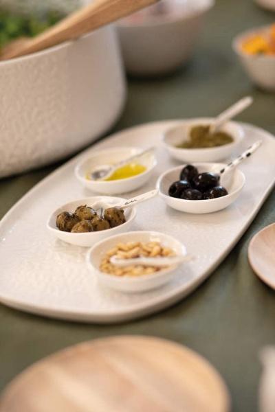 Mix & Match Kleine Schalen, Größe 7x7 cm, Kleine Porzellandipschale mit Löffelchen