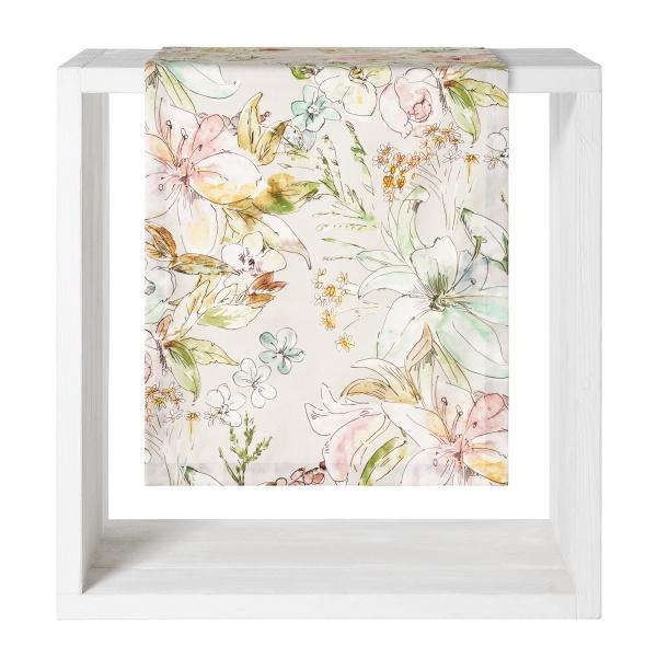 Tischwäsche Angelina, pastelliger aquarelliger Blumendruck, 100% BW, verschiedene Größen