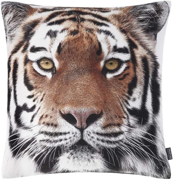 Kissenhülle Efendi, Fotodigitaldruck Tigerkopf, Größe 50x50cm, Farbe natur