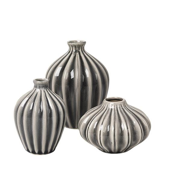 "Vasen Set ""AMALIE"" , 3 teilig ,Keramik in Farbe grau"