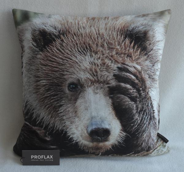 Kissenhülle Balou, Digitalfotodruck Bär, 100% Baumwolle, Farbe natur, Größe 40x40 cm