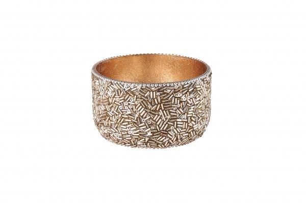 Madras Windlicht, außen besetzt mit Perlen / innen gold, verschiedene Farben