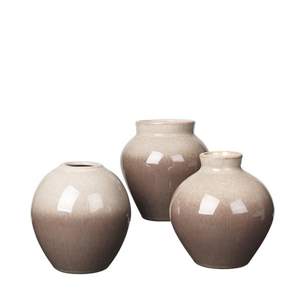 Vase Ingrid, Keramik in Farbe taupe /brown, verschiedene Formen, Größe 14x14,5 cm,