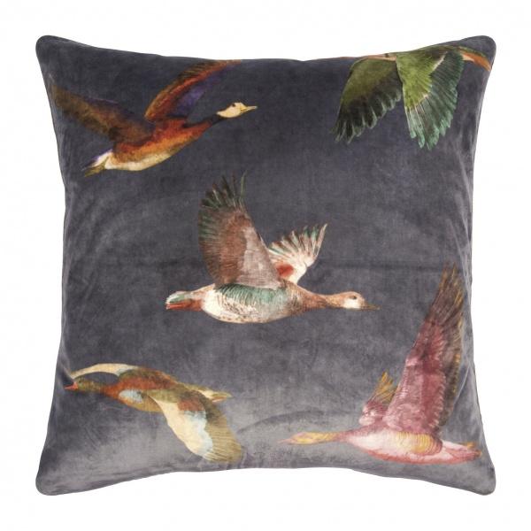 Kissenhülle Duck, Print Enten auf Samt, Größe 45x45 cm, Farbe grau