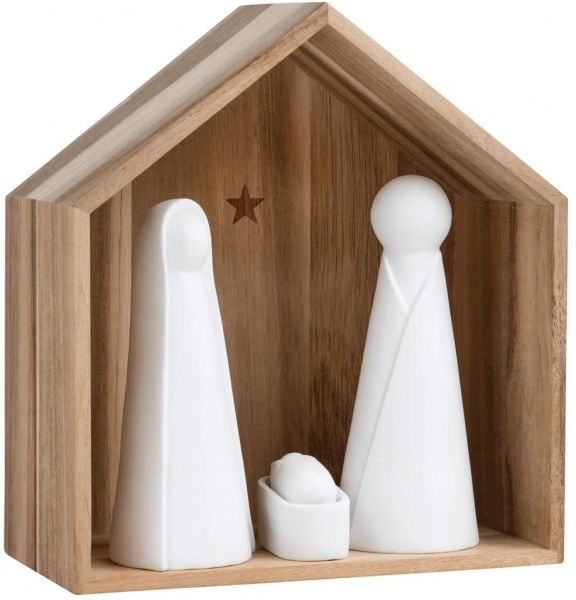 Große Krippe, Größe: 21.2 x 19.4 x 10.4 cm, Holz mit Porzellanfiguren