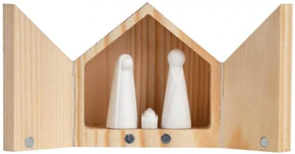 GIVING Krippe Mini , im Geschenkkästchen , Größe 5,5x5,5x3,5, die Weihnachtstimmung für unterwegs