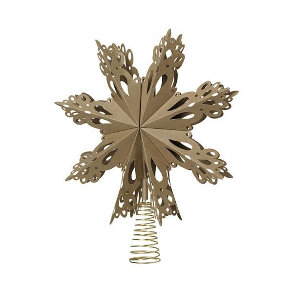 Baumspitze Stern, Durchmesser 30 cm, Papier, Farbe natural brown
