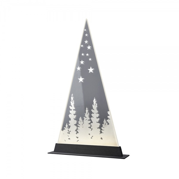 LED-Leuchte Glas mit Wald-Dekor gelasert, outdoorgeeignet, verschiedene Größen