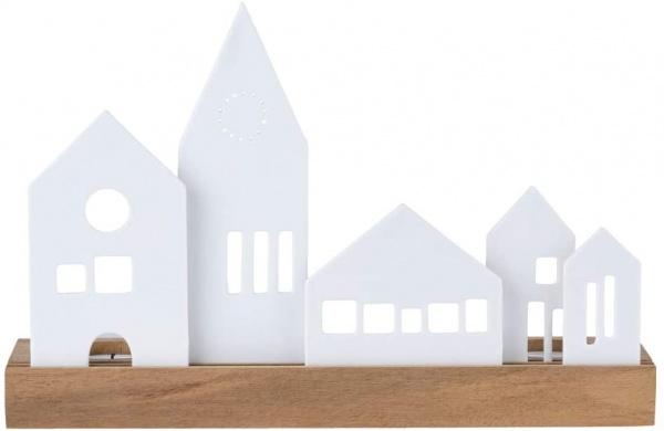 Xmas Lichtobjekt, Porzellanstecker auf Akazienholz, Größe 25x7x13,5 cm, verschiedene Ausführungen
